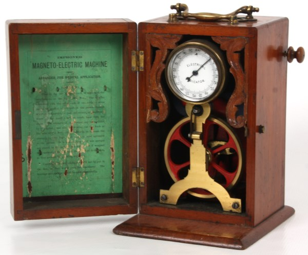 Magneto electric machine with hand crank and electrical indicator dial, weighing 7 1/4 pounds. (est. $1,200-$1,500). Fontaine's Auction Gallery image