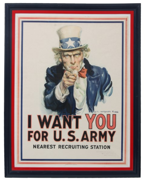 Vintage World War I U.S. Army recruiting poster by James Montgomery Flagg (est. $7,000-$9,000). Fontaine's Auction Gallery image