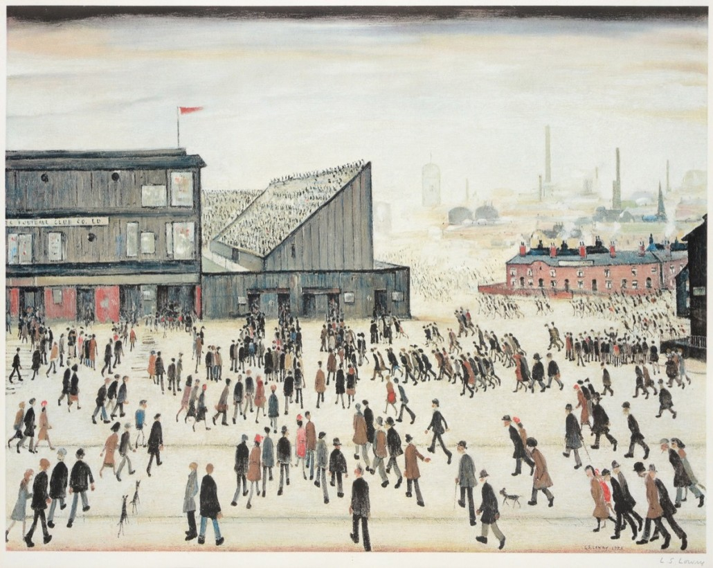 """Going To The Match"", a signed lithograph of Lowry's famous 1928 oil painting, now in The Lowry. The print, with Fine Art Trade Guild blindstamp, sold for a record £22,000. Photo Tennants auctioneers"