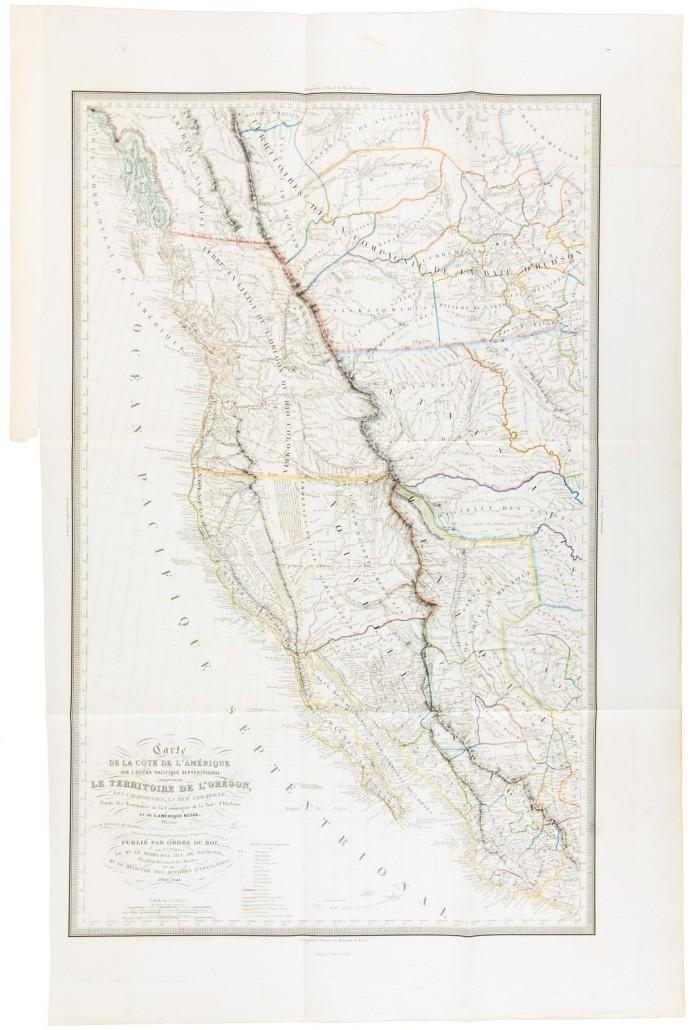 A map of the Pacific Slope contained in the two-volume set of Eugéne Duflot de Mofras' 'Exploration de Territoire De L'Orégon, des Californies et de la Mer Vermeille,' 1844, which sold for $30,000. PBA Galleries image