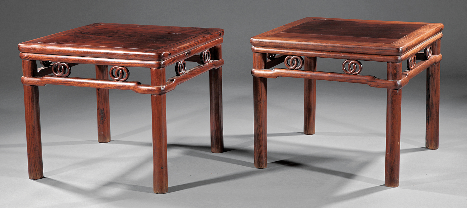 This pair of antique Chinese huanghuali stools, sold by the Neal Auction Co. for $58,000 in 2012, benefitted from an interesting back story. They once belonged to New Orleans collector Irene S. Chandler, who had purchased them from a dealer in Hong Kong during a 1953-1954 visit to Asia. Similar examples appear in publications by Ellsworth and Ecke. Courtesy Neal Auction Co., New Orleans.