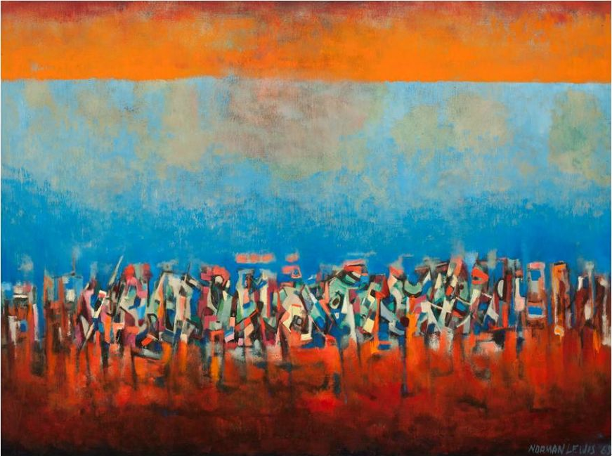 Norman W. Lewis, title unknown (March on Washington), 1965, oil on fiberboard, 35 1/4 x 47 1/2 in., L. Ann and Jonathan P. Binstock, copyright Estate of Norman W. Lewis. Courtesy of Michael Rosenfeld Gallery, LLC, New York, NY