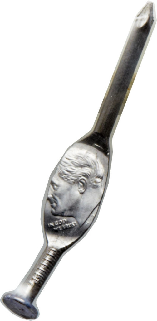 Obverse view of undated Roosevelt dime struck on a nail. Image courtesy of Heritage Auctions