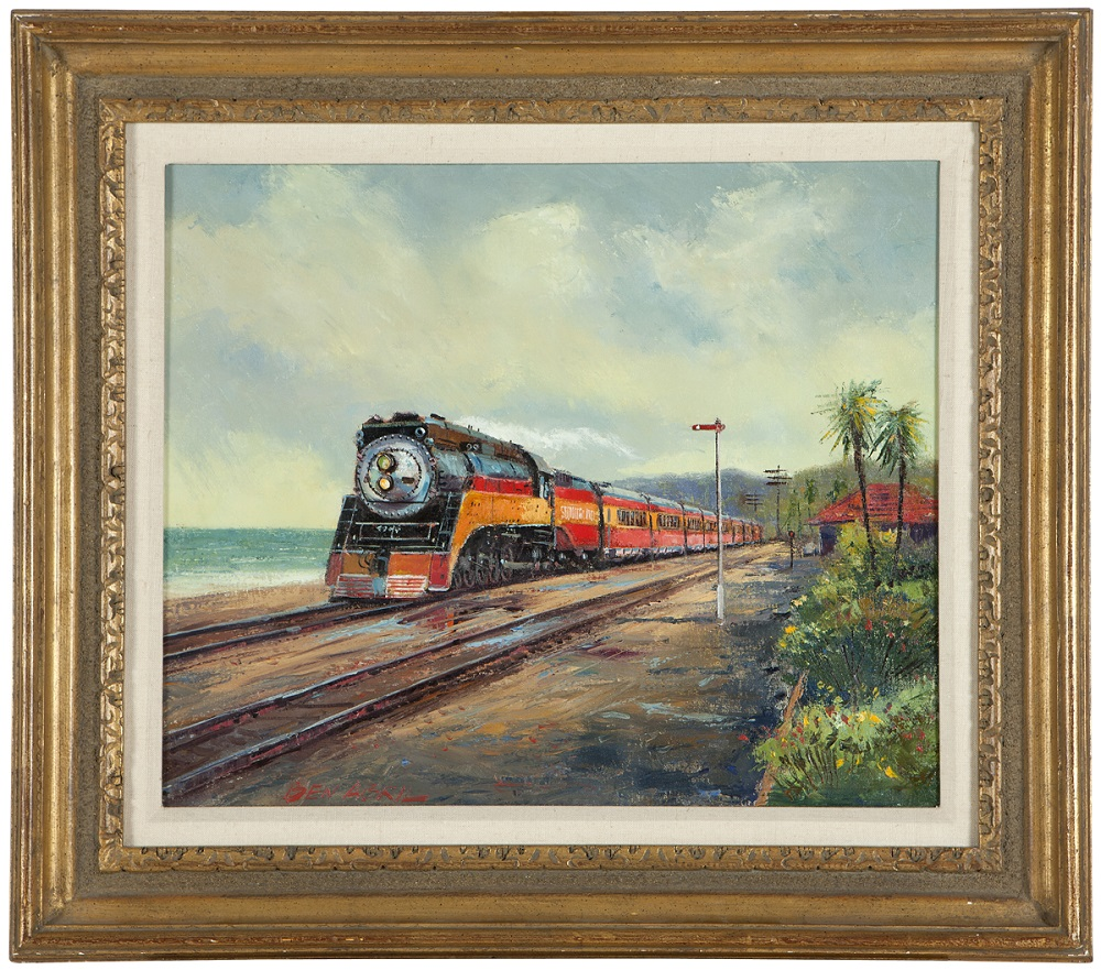 'The Coast Daylight' by Ben Abril (1923-1995, Los Angeles) depicts the train of the same name departing Santa Barbara in 1939 (est. $3,000-4,000). John Moran Auctioneers image