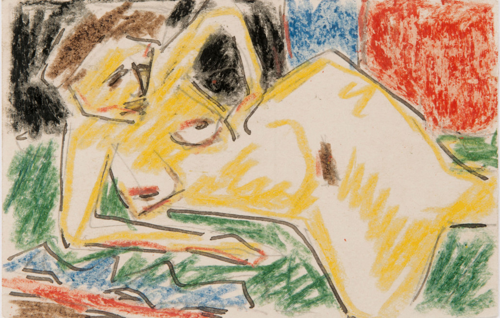This postcard drawn by one of the Brücke artists, Karl Schmidt Rottluff, and mailed in 1911, brought 53,000 euros ($57,900). Photo courtesy Quittenbaum Kunstauktionen