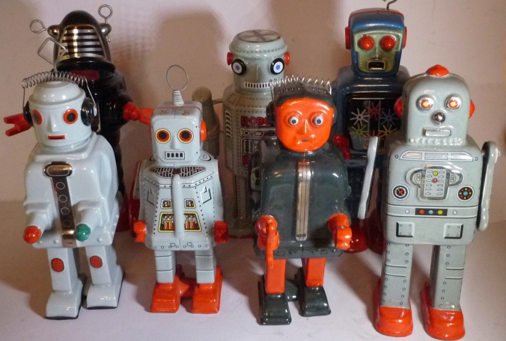 Some of the robots from the single-owner collection to be sold on Dec. 9. Photo Ewbank's Auctioneers
