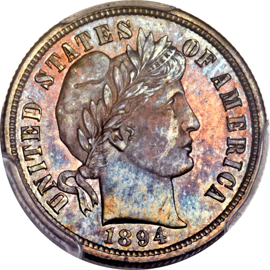 The 1894-S Barber dime sold for $1.99 million at a Heritage coin auction in Tampa, Fla., Jan. 7. Heritage Auctions image