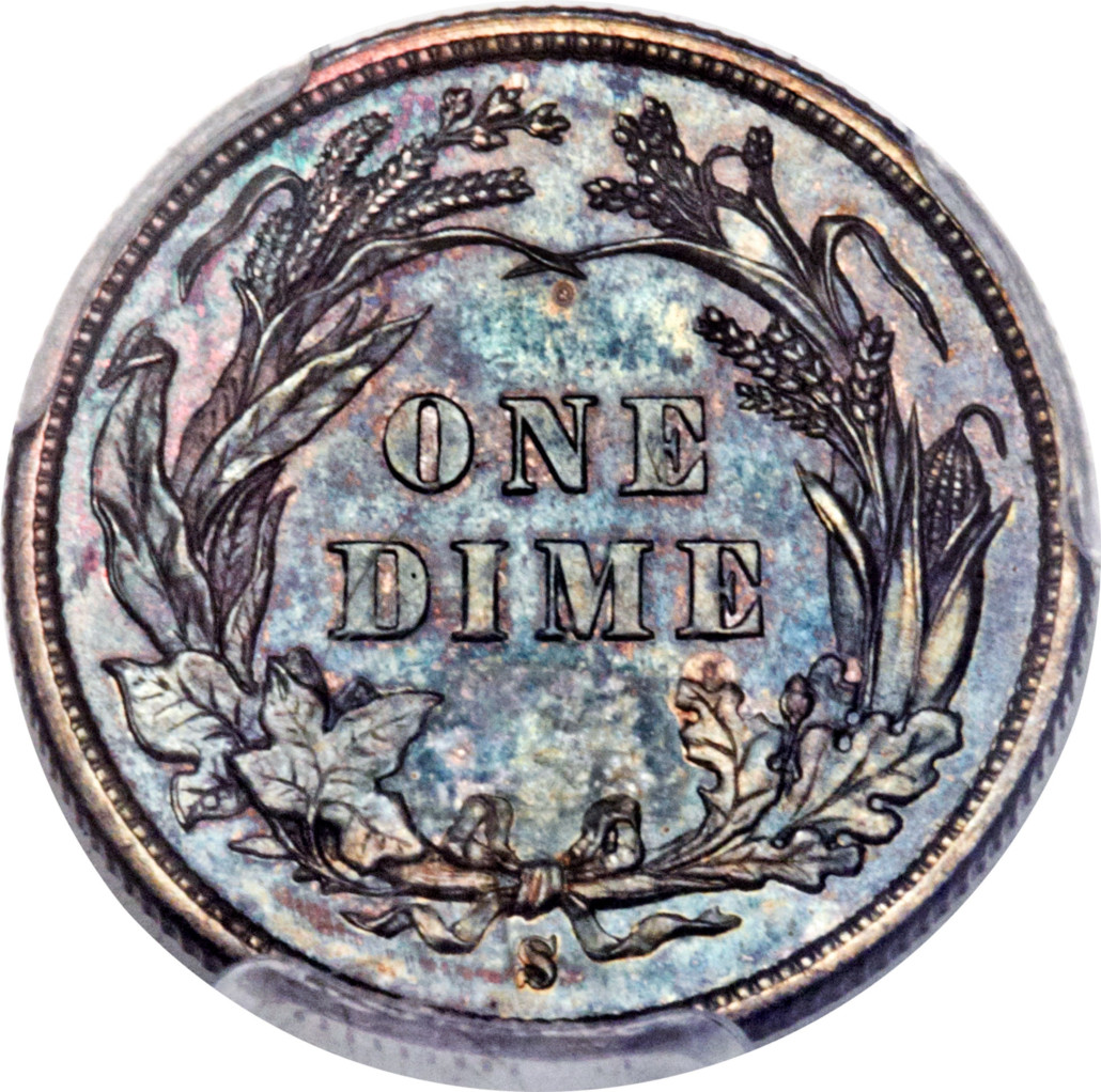 The reverse of the 1894-S Barber dime that sold for $1.99 million. Heritage Auctions image
