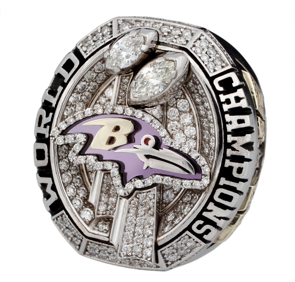 Jamal Lewis' Super Bowl ring sold in 2012 by Goldin Auctions for $49,770. Image courtesy of Goldin Auctions