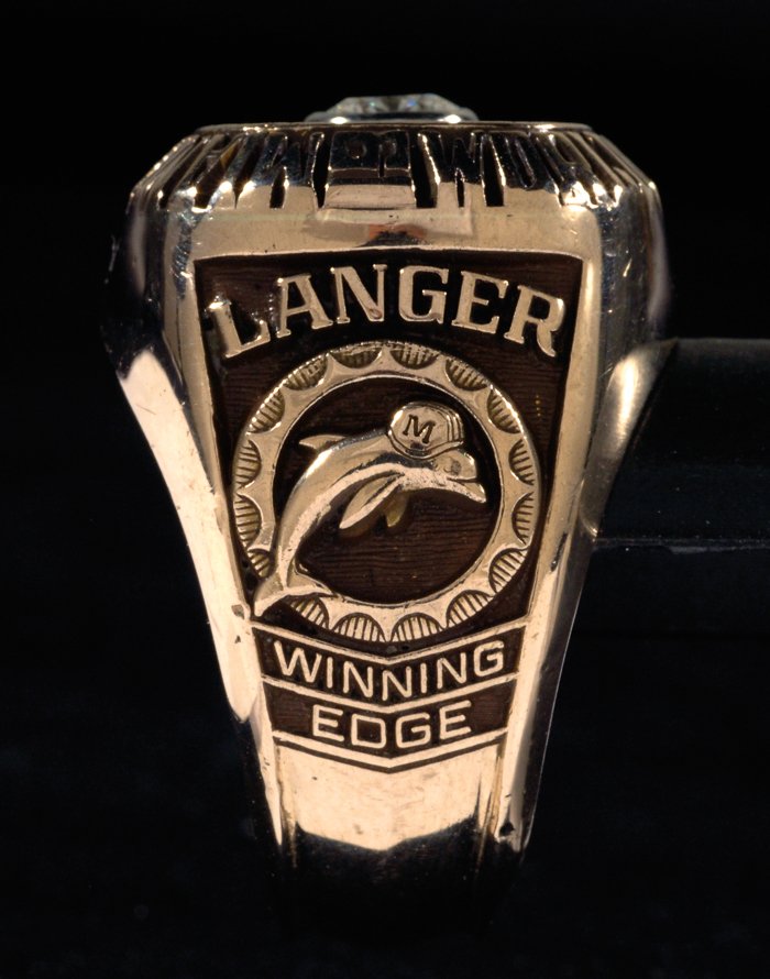The dolphin visual leaves no question as to which team won the Super Bowl in 1972. This ring awarded to Dolphins center Jim Langer was sold by Hunt Auctions in 2015 for $37,375. Image courtesy of Hunt Auctions