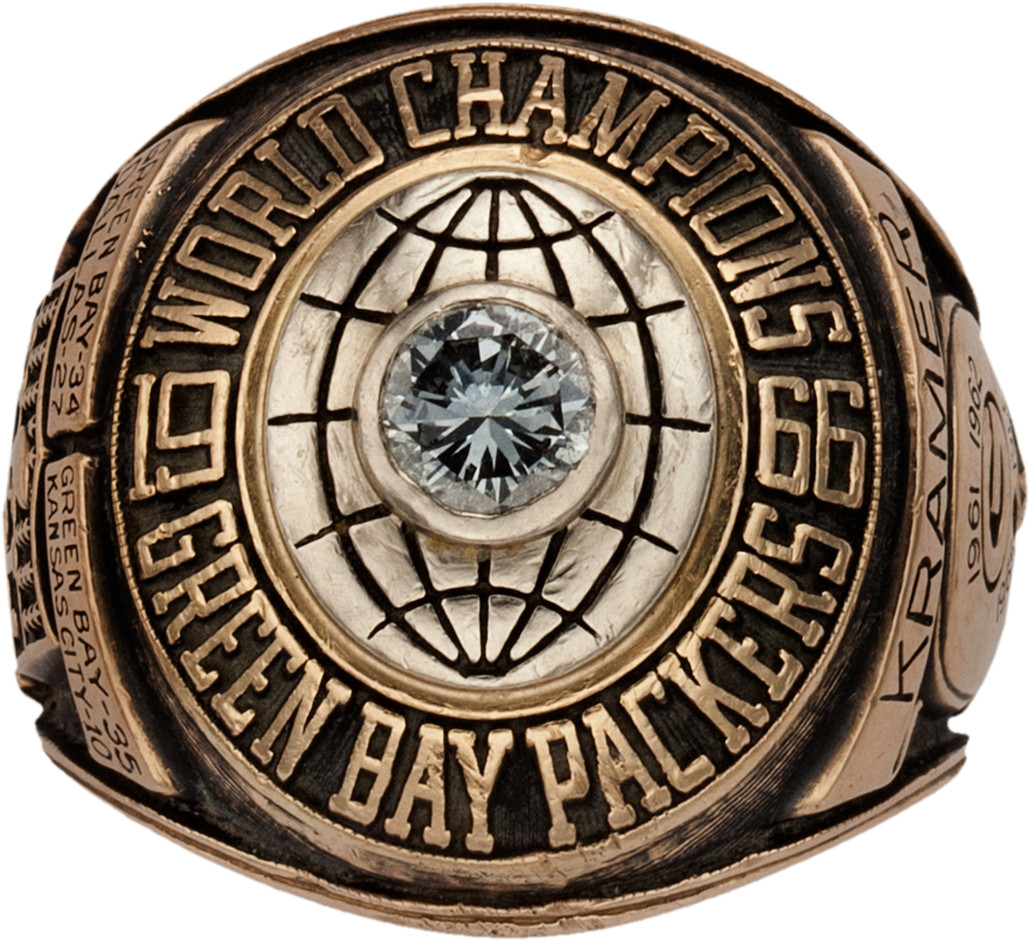 Jerry Kramer's 1967 Green Bay Packers Super Bowl ring will be auctioned Feb. 20 by Heritage, with absentee and Internet live bidding available through LiveAuctioneers.com. Image courtesy of LiveAuctioneers and Heritage Auctions