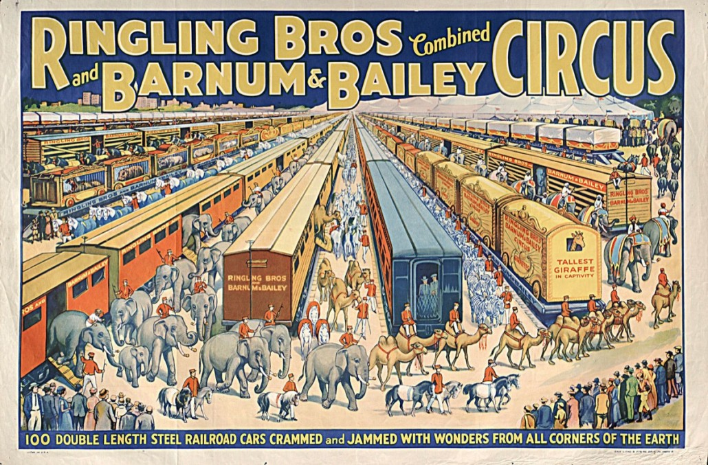 Ringling Bros.' circus toured America in '100 double- length steel railroad cars crammed with wonders from all corners of the earth.' Photo Ringling Museum of Art, Florida State University