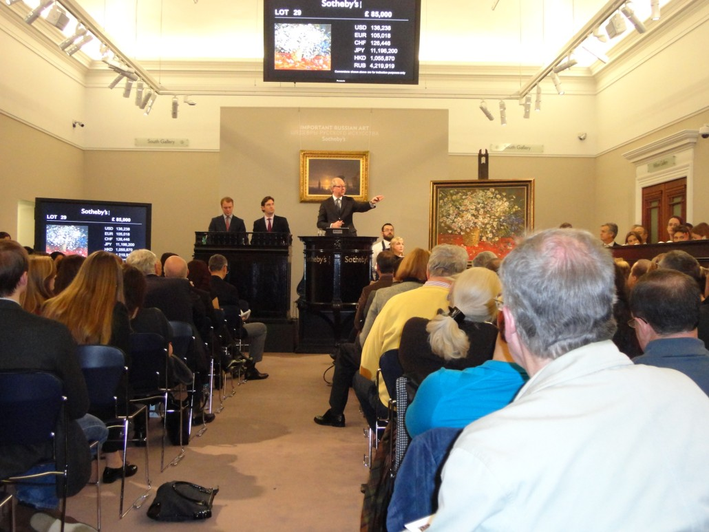 Mark Poltimore, chairman of Sotheby's Russian department, conducting a sale in 2012 during a relatively buoyant period in the Russian art market, which saw a marked decline in 2015. Image Auction Central News