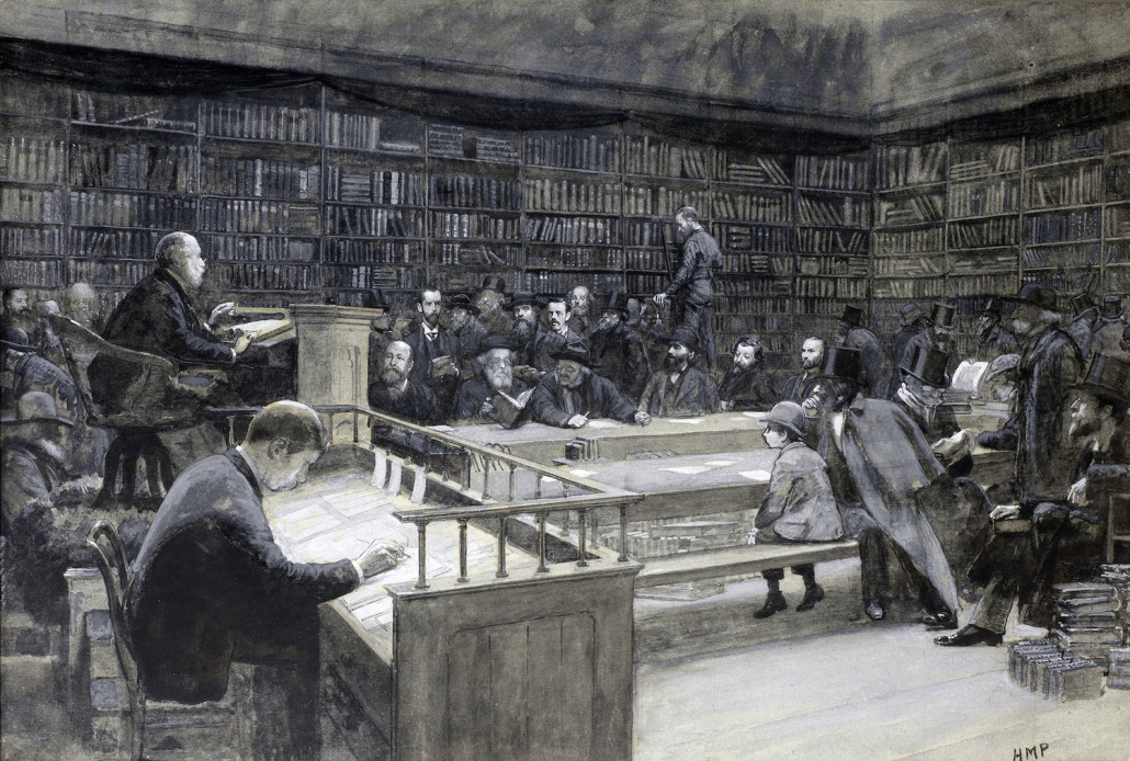 A book sale at Sotheby's in the Strand in 1888, drawing signed 'HMP.' Image courtesy of Bonhams, public domain, Wikimedia Commons