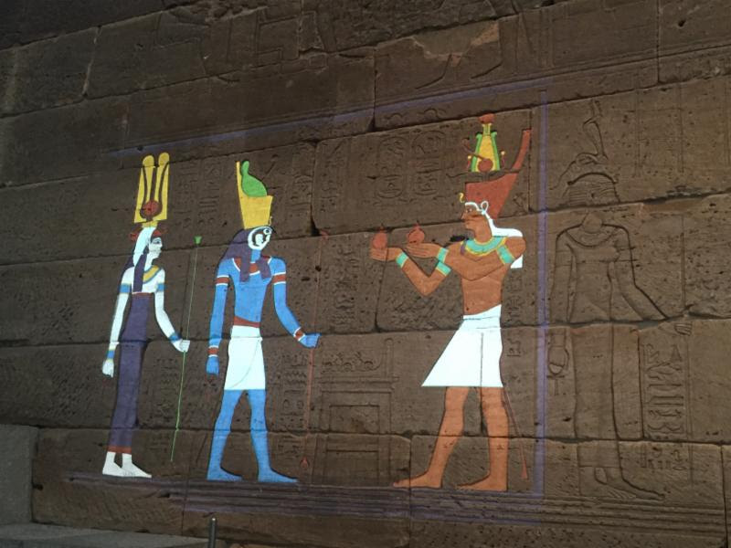 An experimental lighting display, 'Color the Temple: Scene 1,' at The Temple of Dendur at the Metropolitan Museum. The Metropolitan Museum of Art/Filip Wolak image