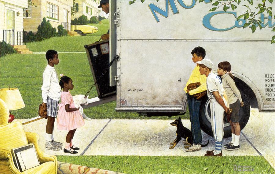 Norman Rockwell (American, 1894-1978), 'New Kids in the Neighborhood,' tear sheet, story illustration for 'Look,' May 16, 1967, Norman Rockwell Museum Collections