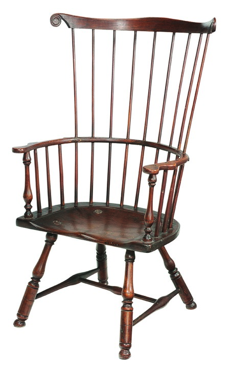 This comb-back Windsor chair was made in Pennsylvania in the late 18th century. It auctioned in 2015 for $1,003 even though it had some breaks in the wood and added metal braces used for repairs.