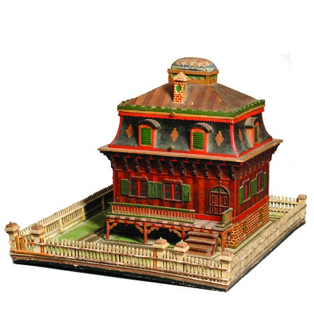 No, this isn't a dollhouse. It is a Victorian sewing box worth $3,075. The roof covers a tray with sewing implements and thread, important tools in the days when home sewing was important.