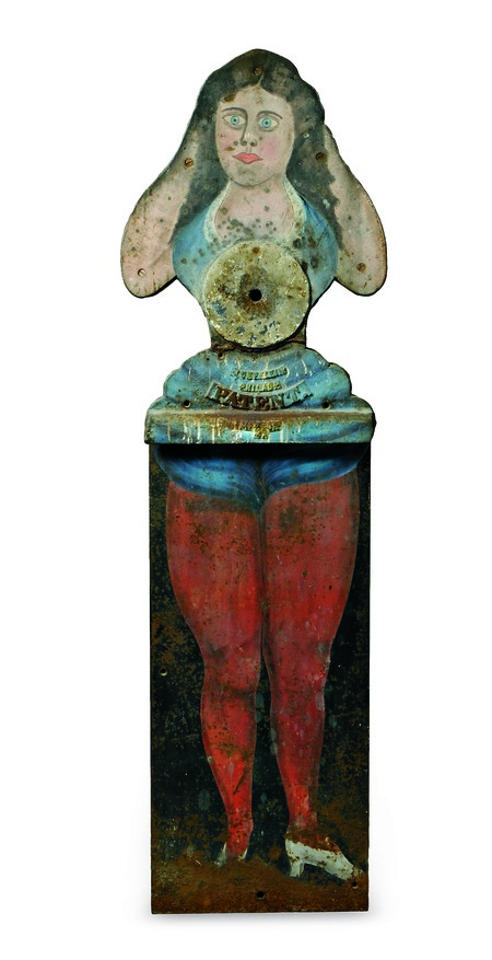 This cast-iron figure of a woman is marked 'Wurfflein/Philad./Patent.' She is a rare, life-size shooting gallery target that is over 100 years old. Skinner Inc. auctioned it in March 2015 for $43,050.